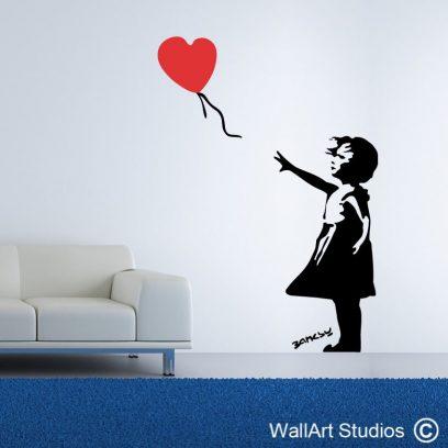 Heart Balloon Girl, Banksy wall art, Banksy decal, Banksy stickers, custom wall art