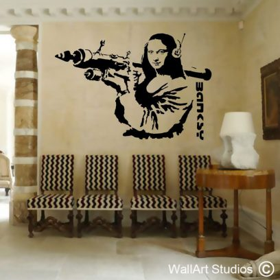 Bazooka-Mona Lisa, banksy, wallart decal, wall stickers, custom designs