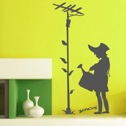 Flower Aerial wall art decals, wall stickers, banksy, flowers,