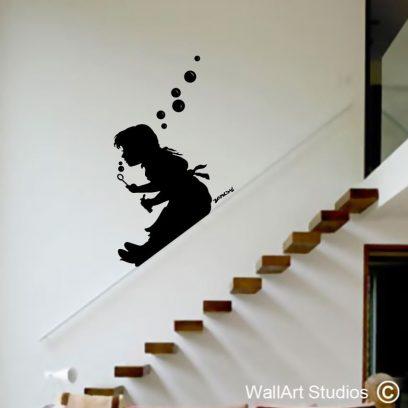 Banksy Bubble Girl, wall stickers, wall decals, custom wall art, design