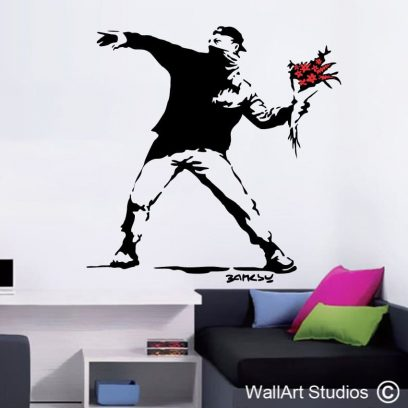 Protest, Banksy, grafitti, wall art, decal, stickers, famous, fun, funky