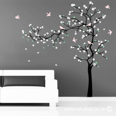 Dainty Blossoms wall art decal, blossom wall art sticker, dainty blossoms, tree wall art decal, blossoms, birds, custom wall decals. cute blossom tree, blossom tree, blossom