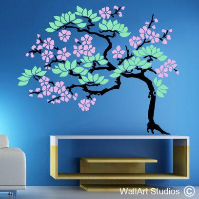 Cherry Bonsai, blossom, asian, bonsai decals, stickers, tre wall designs, home decor