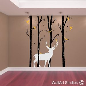 birch forest with stag wall decal, tree wall art stickers, custom tree designs, custom wall art stickers, wall stickers of trees