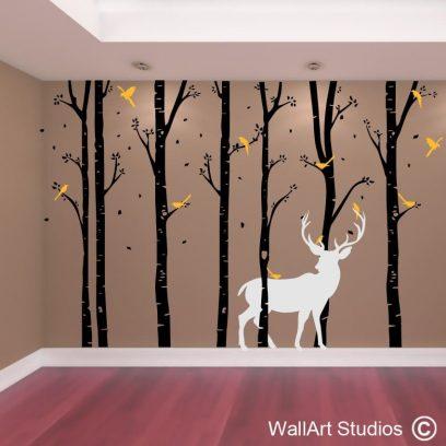 Birch Forest Stag Wall Art Vinyl, deer, buck, antlers, doe, birch, trees, forest, stickers, decals, decal, sticker