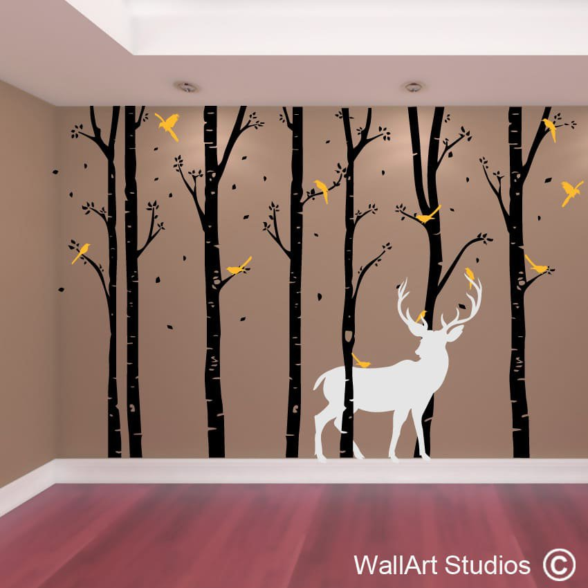 birch forest stag wall art vinyl | designedwall art studios