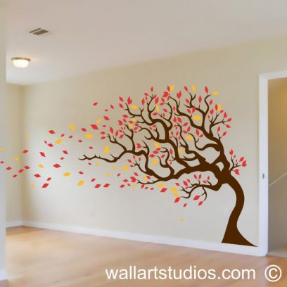 Autumn Tree, tree decals, custom trees, summer, leaves blowing, falling, sticker, removable, vinyl