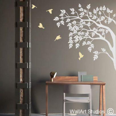 Tree Silhouette, decal, wall art, birds flying, home decor, office decor, bedroom ideas