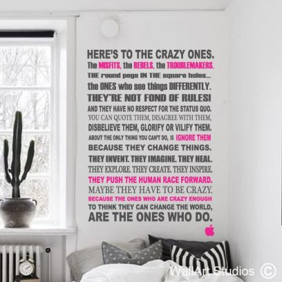 Steve Jobs wall art qhote, crazy, round, pegs, wall art decal, apple, ipod, imac, macbook