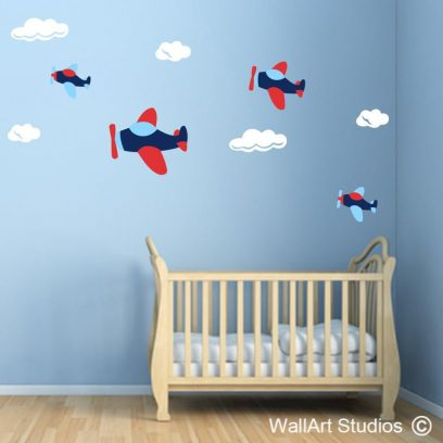 planes and clouds wall art decal, planes wall art sticker, clouds decal