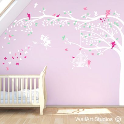 enchanted forest, wall decals, home decor, fairy stickers, butterflies, trees, girls room decor