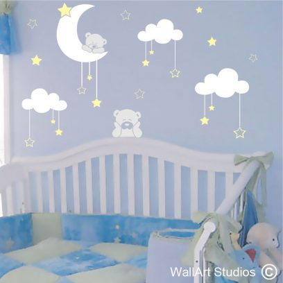 Teddy Moon stars wall sticker