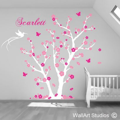 Scarlett Tree wall decals, wall stcikers, tree with name, tree decals, nursery wall art, flowers, trees, girls, girls wall decal, custom designs, custom wall art stickers