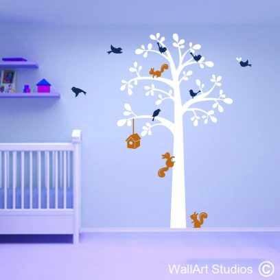 Squirrel Tree wall art decal, wall decals for nurserry, wall art sticker for nurserry, squirrel, bird house, burd decals, home decor, nursery decor, nursery ideas, boys, girls