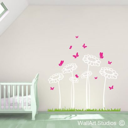 Butterflies n Daisy's wall art decal, dasiy stickers for nursery, daisy wall mural for home decor, cute daisy's