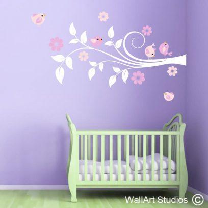 Flower Birds wall decal, wall stickers, wallart, birds, flowers, nursery, girls,boys, custom, deisign, murals, vinyl, home decor, ideas, removable