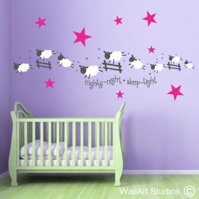 Sleepy Sheep wall decal, sheep, nursery, sleep, decor, vinyl, stickers, wall art. wall vinyl, wall decal, animals, safari, farm animals, farm
