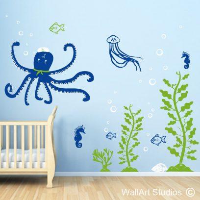 Under the Sea wall decla, jellyfish, octopus,fish,seaweed,nautical,shells,stickers, vinyl,boys, girls,nursery
