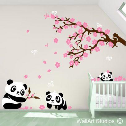Pandas wall decla, panda bear, cute pandas, nursery wall stickers, home decor, wall murals, animals, bears, tatty teddy, blossoms, blowing, wall decor, wall features, ideas
