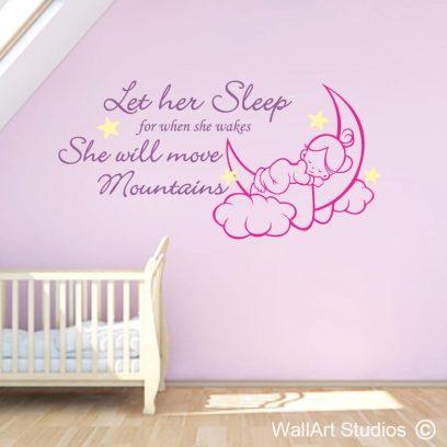 Let Her Sleep wall decal, Napaleon Bonaparte, girls wall art stickers, wall decals, vinyl wall art, sleep, dream, home decor, nursery, decor, cute