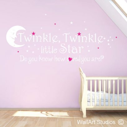 twinkle twinkle little star wall art sticker, star decals, stars and moon stickers,