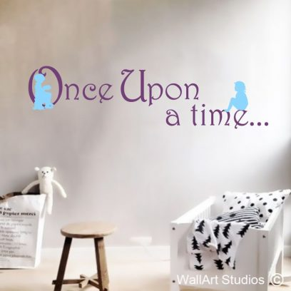 Once Upon a Time, wall decals, story, wall mural, sticker, home decor, decor, girls, biys, school, pre-school, library, silhouette, cute,girl, boy, once, upon, time