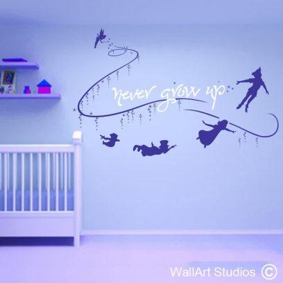 Peter Pan, wall, art, decal, mural, neverland, lost boys, wendy, tinkerbell,fairy dust, stars murals, flying, home decor, nursery,custom