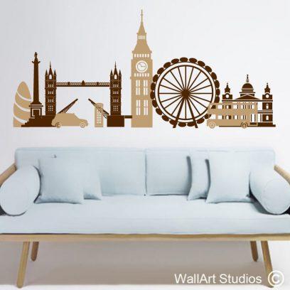london fun wall art decal, london silhouette wall art sticker,