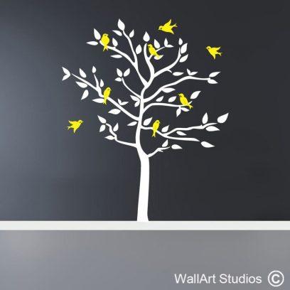 Birds in a tree wall decal, Birds in a tree wall art sticker, birds wall art, tree wall art, custom wall art