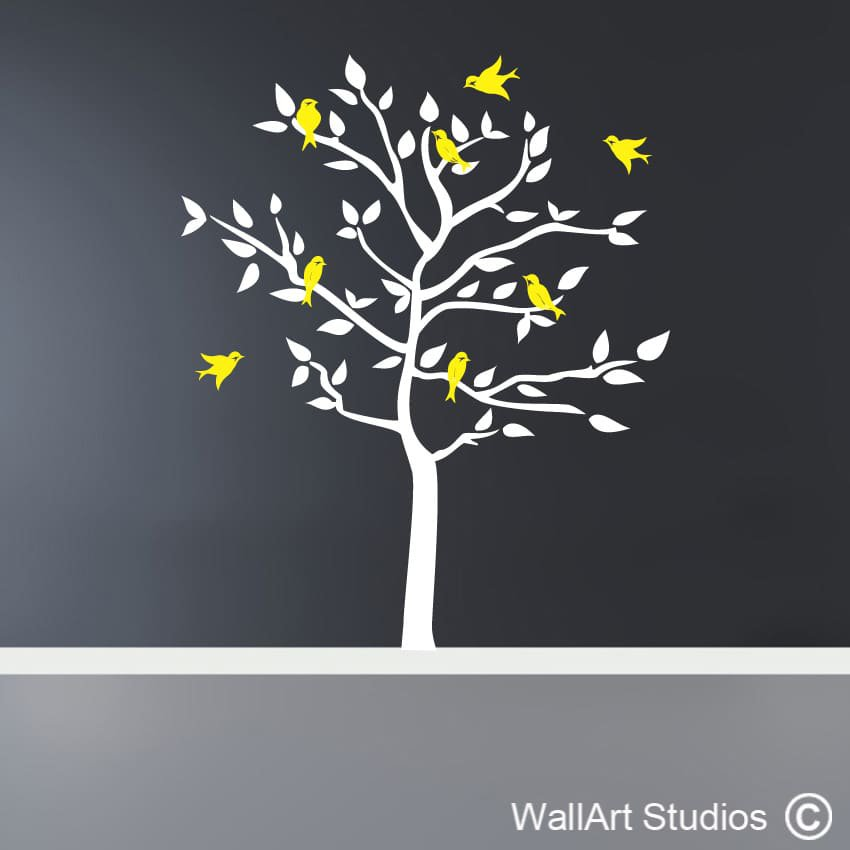 Forest Silhouette Birds Decal Wall Art Stickers Wall
