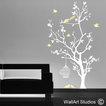Bird Cage and Blossom Tree wall art decal, Bird Cage and Blossom Tree wall art stickers, blossoms, tree wall designs, birds wall decals, custom wall decals