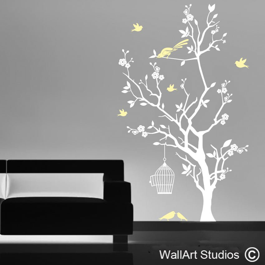charming Wall Art Trees Part - 3: Bird Cage and Blossom Tree