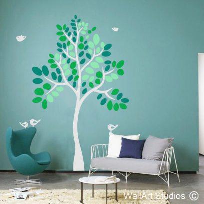 Quirky Tree wall art decal, tree wall art stickers, vinyl wallart trees, tree silhouette, custom wall art tree designs