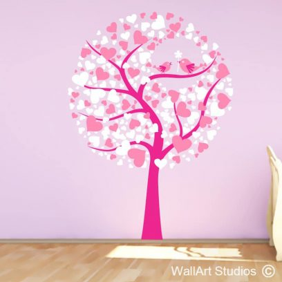 tree of love wall art decal, tree stickers, tree with birds stickers