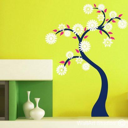 Daisy Tree wall art decal, modern wall art stickers, retro wall art designs, custom wall art decals and stickers