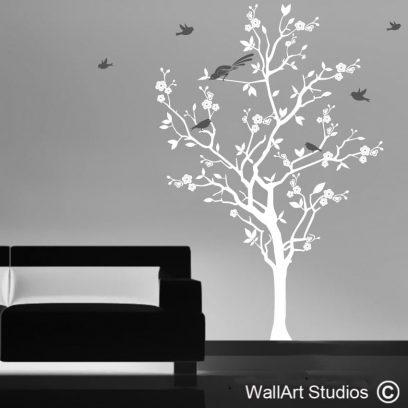 Blooming Cherry Tree wall art decal, cherry tree with birds wall art, cherry tree dcal, tree wall stickers, custom tree wall art