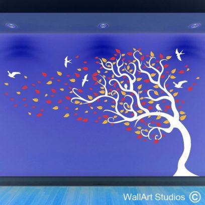 Windblown Tree wall art decal, tree wall stickers, trees, blowing leaves wall art, leaves wall art, tree decals blowing in the wind, blwing leaves, tree with leaves falling, tree decals, tree wallart sticker