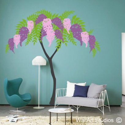wysteria wall decal, tree walll art stickers, lilac wall art flowers, purple flowers, custo wall art designs wall
