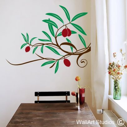 Olive Branch wall decal, wall art for kitchens, kitchen wall declas, cusotm kitchen wall art