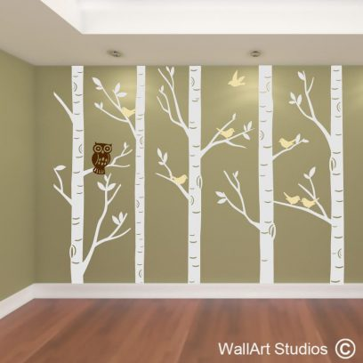 Forest with Owl wall decal, nursery wall art stickers, custom wall art designs