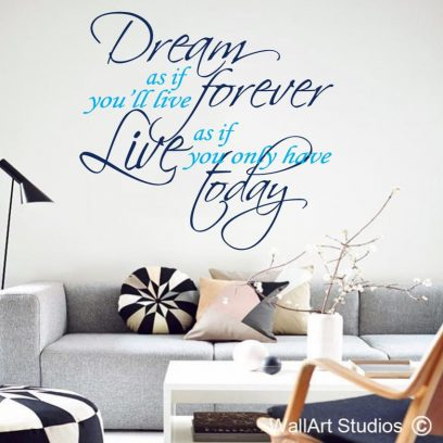 James Dean wall stickers, james dean wall art, dream as if you'll live forever james dean quote, james wall decal, dream wall tattoo