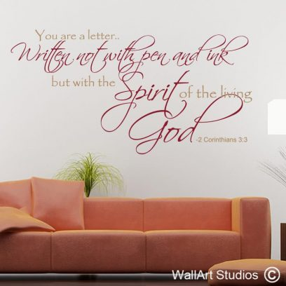 2 Corinthians 3:3, christian wall art decals, christian wall art stickers , religious wall art vinyl stickers