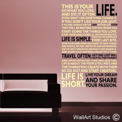 This is your life wall quote decal, custom wall art quotes, custom wall words, wall art vinyl stickers, inspirational wall quotes