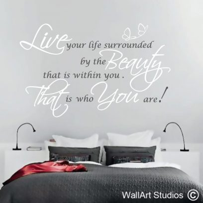 Beauty wall quote decal, wall art words, cusotm wall quotes, custom wall decals