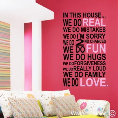 In This House vinyl wall decal, house decal, home decor, in this house, family house rules, family, wall quotes, custom wall quotes