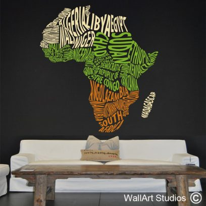 Funky Africa wall art vinyl decal, map of africa wall sticker, africa wall decal, africa wall tattoo