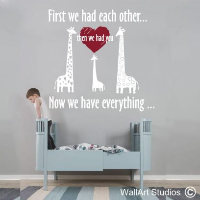 Now we have everything wall art decal for nursery, first we had each other wall art sticker, nursery wall art vinyl decal, giraffe decal for nursery, heart wall art vinyl stickers and decals