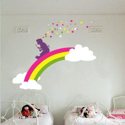 Rainbow girl, wall art sticker, rainbow wall art decals, bubble wall art stickers, girl blowing bubbles wall art decals, rainbows
