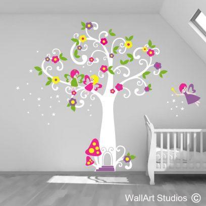 Magic fairy tree, wall art sticker, fairy wall art decal, twirly tree vinyl sticker, tree, flowers, wall art decal, girls room decor