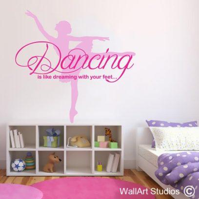 Dancing Ballerina, wallart sticker, ballerina wall decal, daning on your feet wall art vinyl, ballerina wall stickers for girls, nursery wall decals, Ballet decals, dance studio decals
